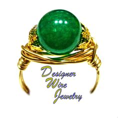 DWJ0734 Stunning Jade Gemstone Solitaire Gold Wire Wrap Ring All Sizes