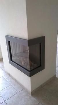 Bellfires gashaard, hoek, gesloten met glas