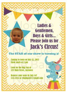 Circus Birthday Party Invitation by TheBabyNoogle on Etsy, $15.00