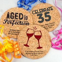 Adult Birthday Round Cork Coasters