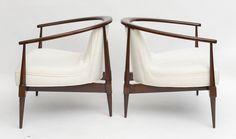 A Pair of Italian Modern Mahogany Armchairs,  Silvio Cavatorta image 7