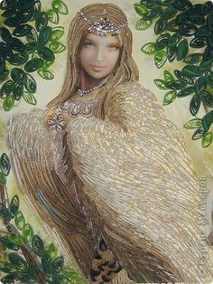 Картина панно рисунок Квиллинг Райская птица СИРИН Бумажные полосы Кружево фото 1