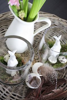 Spring Vignette with bunny & moss terrariums, eggs and feathers