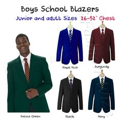 Boys School Blazer Jacket Uniform Black Royal Blue Bottle Green Maroon Navy #MissChief #SchoolUniform