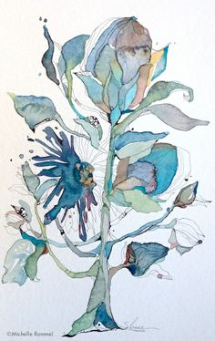Botanical Sketch ~ Original ink and watercolor by Shell Rummel ~  ©Michelle Rummel