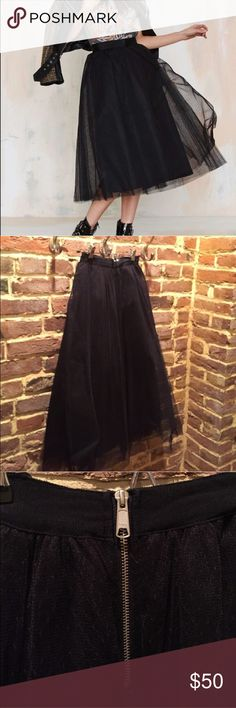 """NASTY GAL Get Into The Groove Black Tulle Skirt XS """"Get into the groove, girl, you've got (nothing) to prove. This skirt features a layer of black netting with three layers of tulle underneath, ribbon waistband, silver zip closure at back, and full silhouette. Lined. Pair it with a black bustier and patent pumps. By Nasty Gal."""" Purchased from another user but it doesn't fit quite right 😭 Nasty Gal Skirts Midi"""