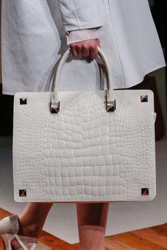 Valentino White Croc Falt Tote Bag - Fall 2013 Runway