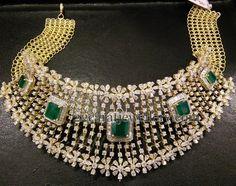 Jewellery Designs: Bridal Set by Sai Rajendra Palace Indian Jewellery Design, Latest Jewellery, Indian Jewelry, Jewelry Design, Diamond Necklace Set, Diamond Choker, Diamond Jewellery, Antique Jewellery, Gold Necklace