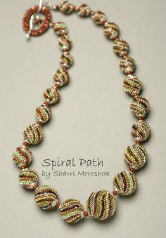 """Spiral Path"" a beaded bead necklace by Sharri Moroshok www.TheBeadedBead.etsy.com"