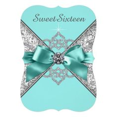White Diamonds Teal Blue Sweet 16 Birthday Party Personalized Invitation