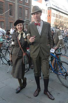 couple and  contestants at the 2011 London Tweed Run.