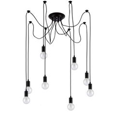 Edison Pendant Light Chandelier 8 Pendants - Bulbs Included, Matte Black