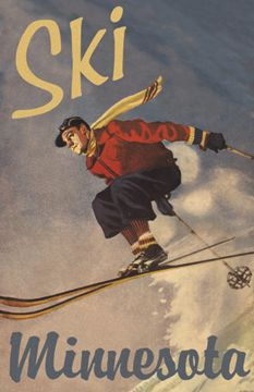SKI MINNESOTA vintage ski poster