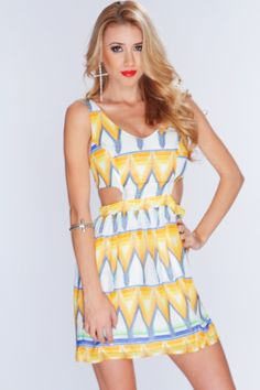 Look perfectly pretty at your next party with this adorable dress! Match it with your favorite accessories and shoes and you will be a head turner at your next shindig! Make sure you add this to your collection, it definitely is a must have! Featuring scoop neckline, sleeveless, colorful printed pattern, side cutouts, back zipper closure, and finished with a comfortable fit. 100% polyester