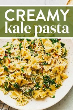 This Creamy Kale Pasta is fresh, easy, and DELICIOUS. Chewy bowtie pasta, coated in a light, salty, barely-creamy sauce, flecked with red pepper flakes and little bits of tender sautéed garlic kale. #pasta #kale #vegetarian Pasta Recipes, Cooking Recipes, Vegetarian Recipes, Healthy Recipes, Vegetarian Pizza, Veg Recipes, Kale Pasta, Garlic Kale, Asparagus