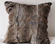 Handmade Pedigree Rabbit Fur Pillow. Decorative pillows. Bed set. Luxury pillows
