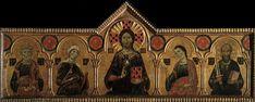 Redentore tra la Vergine e tre santi AutoreMeliore di Jacopo Data1271 Tecnicatempera e oro su tavola Dimensioni85 cm × 210 cm  UbicazioneGalleria degli Uffizi, Firenze