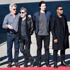 Harrison Ford, Mark Hamill, Adam Driver, and John Boyega chilling- I love this pic!