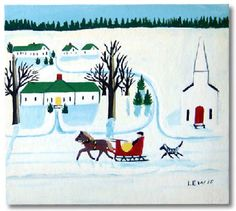 Black Sheep Gallery   A seldom seen image by Maud Lewis. Only four paintings by Maud of this image are known to exist.