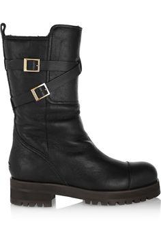 Jimmy Choo Dwight shearling-lined leather biker boots NET-A-PORTER.COM