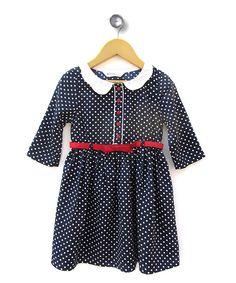 Sewing inspiration  Navy Polka Dot Dress - Girls