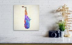 This bold colorful print is perfect for anyone who loves music or plays sax. Available in many options. #music #art #fineart #homedecor Paint Splatter, Saxophone, Prints For Sale, Fine Art, Wall Art, Artwork, Painting, Color, Work Of Art
