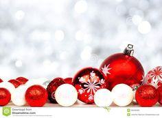 Red And White Christmas Ornaments With Twinkling Silver Background ...