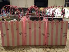My daughter's cat-themed birthday party. Cat gift bags (ears and whiskers drawn on with Sharpie). Cat Birthday, Cat Party, Cat Gifts, Sharpie, Gift Bags, Cats And Kittens, Jade, Daughter, Party Ideas