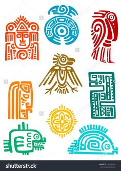 Vector Ancient maya elements and symbols set of religious design. Vector illustationAncient maya elements and symbols set of religious design. Ancient Symbols, Ancient Art, Viking Symbols, Egyptian Symbols, Viking Runes, Native Art, Native American Art, American History, Mexican Art
