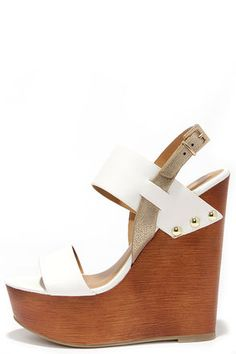 Hey hot stuff, show 'em what's cookin' in your pipin' hot Soda Chef Off-White Wooden Platform Sandals!