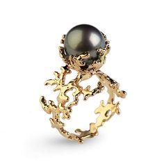 CORAL Tahitian Pearl Ring, Black Pearl Engagement Ring, Gold Pearl Engagement Ring, Gold Engagement Ring by arosha on Etsy https://www.etsy.com/listing/252777314/coral-tahitian-pearl-ring-black-pearl