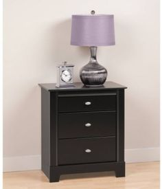 Black Nightstand 3-Drawer Night Stand Side Table Bedroom Bedside Furniture Wood #Prepac #Transitional