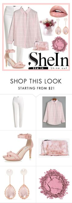 """""""She in Pink Grid Blouse"""" by christinarussell33 ❤ liked on Polyvore featuring Basler, Boohoo and Larkspur & Hawk"""