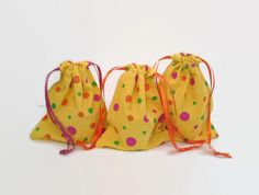 Pink Orange and Green Dotted Yellow Birthday by debupcycles