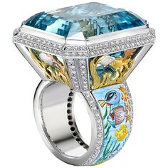 Theo Fennell Aquamarine Diamond Gold Cocktail Ring | From a unique collection of vintage cocktail rings at https://www.1stdibs.com/jewelry/rings/cocktail-rings/