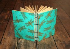 Aqua and Gold Dragonfly Guest Book Journal by Thenibandquill #dragonfly, #dragonflies, #wedding, #guestbook, #journal, #diary, #teengift, #goldfoiled