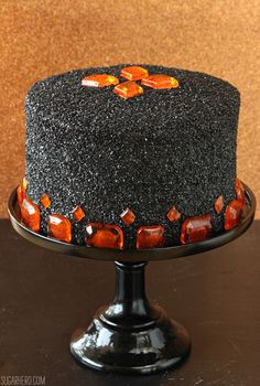 Devil's Food Cake with Pumpkin Butterscotch Frosting - delight your guests this fall with this festive dish perfect for your Halloween party.