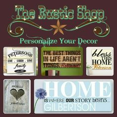 Customized home decor at http://www.therusticshop.com/?store=rusticreflections