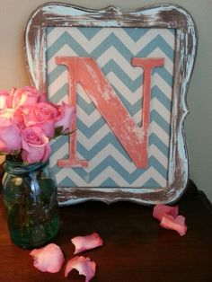 Distressed letter, distressed frame, chevron fabric and ball jars...love!!!