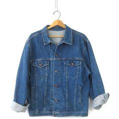 Denim Trucker Jacket Vintage Oversized Dark Blue Jean Jacket Button... (257450 PYG) ❤ liked on Polyvore featuring outerwear, coats, boho coat, oversized denim jacket, blue coat, denim jean jacket and oversized denim coat