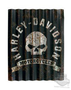 96801-14V - Harley-Davidson® Willie G Skull Rust Resistant Corrugated Aluminum Sign - Barnett Harley-Davidson®