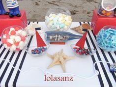 lolaSanz: Mesa marinera para comunión Birthday Decorations, Table Decorations, Sweet Tables, Geronimo, Happy Birthday, Baby Shower, Candy, Food, Birthday Party Ideas