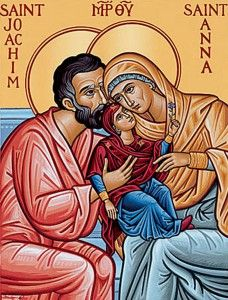 This Ss Joachim & Anna Icon makes a very special gift for grandmothers and grandfathers. Explore more saint icons at Monastery Icons. Catholic Art, Catholic Saints, Patron Saints, Blessed Mother Mary, Blessed Virgin Mary, Religious Icons, Religious Art, Nativity Of Mary, Monastery Icons