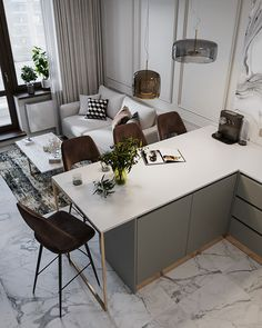 Alexey Seldin on Behance Condo Interior Design, Small Apartment Interior, Small Apartment Design, Home Room Design, Apartment Kitchen, Home Decor Kitchen, Kitchen Interior, Kitchen Design, Lofts