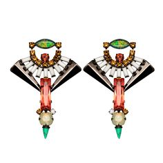 "Lionette by Noa Sade ""Catalonia"" brass earrings with Swarovski crystal detail, $358; lionetteny.com"