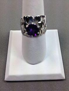 .925 Sterling Silver Ring W Amethyst