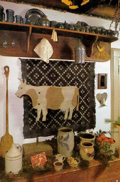 pewter, saltglaze pottery with a touch of prim accents! Primitive Kitchen, Primitive Crafts, Country Primitive, Primitive Snowmen, Primitive Christmas, Country Christmas, Christmas Christmas, Wood Crafts, Prim Decor