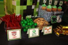 Party food at a Minecraft birthday party! See more party ideas at CatchMyParty.com!
