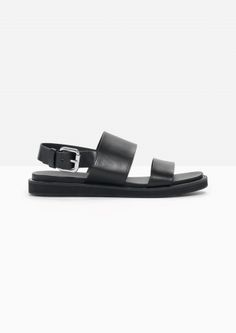 & Other Stories image 1 of Raw Edge Leather Sandals in Black