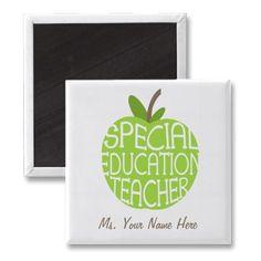 Special Education Teacher Green Apple Magnet